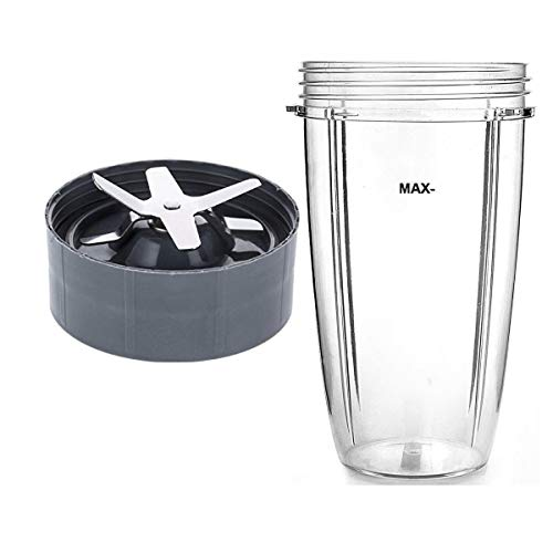 NutriBullet Compatible 32oz Cup & Blade Replacement Set - Tall Blender Cup & 6 Fin Extractor Blade ()
