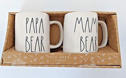 RAE DUNN MAMA BEAR & PAPA BEAR BOXED MUG SET