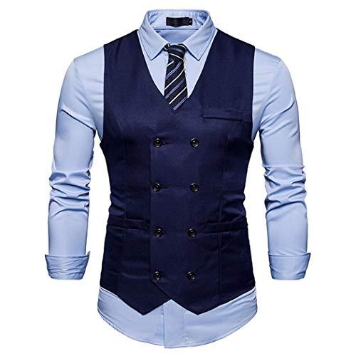 Pour Gilet Costume Décontracté Cokil Bouton Avec Col Marine Montant Homme Bleu De Et Gilets wtpw1
