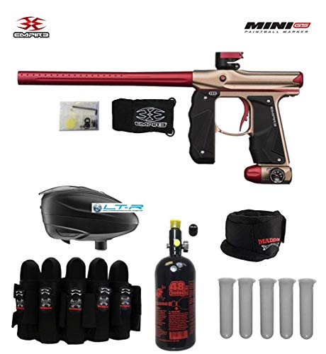 - Empire Mini GS Paintball Gun & Accessory Combo Package - Dust Tan/Red