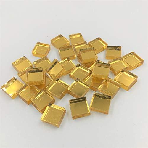 NUORUI 小型正方形クラフトミラー ガラスミラーモザイクタイル アート&クラフトプロジェクト用 (100個) 3/8 Inch ゴールド NUORUI