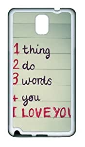 1 thing 2 do 3 words 4 you PC Custom For Case Samsung Galaxy Note 2 N7100 Cover and Cover - White