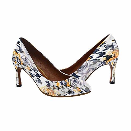 Scarpe Da Donna Di Ispirazione Classica Moda Classica Scarpe Con Tacco Alto Scarpe Modello Astratto Disegno Pied-de-poule