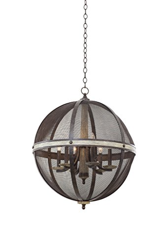 (Kalco 7041FG Coronado - Six Light Oval Chandelier, Florence Gold Finish )