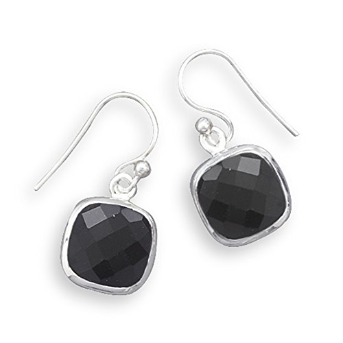 (Black Onyx Earrings Square Faceted Sterling Silver)