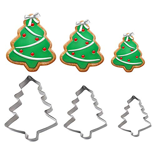 Satelliter 3D Christmas tree Cookie Cutters Cake Mold Fondant Mold Stainless Steel Cookie Mold Perfect for Biscuit Baking Fondant Cookies Cake Decorations (Christmas tree 2) ()