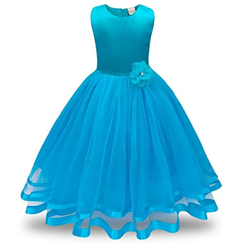 Girl Tutu Tulle Gown Wedding Party Princess Bridesmaid Flower Girl Dress(Light Blue-8T) -