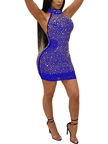 Halter Clubwear Mini Dress - Nhicdns Women Sexy Bodycon Sleeveless Diamonds Mesh Halter Beaded Rhinestones Backless Clubwear Party Mini Dress