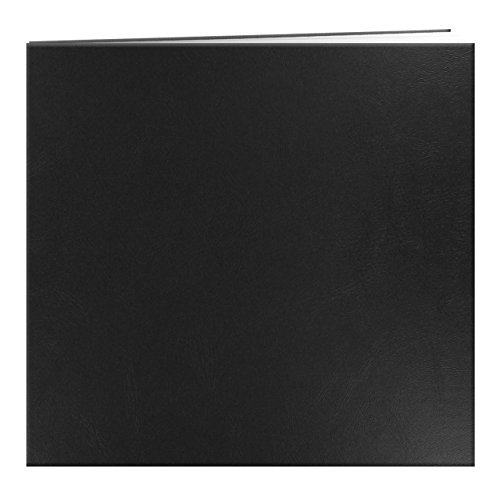 Pioneer Leatherette Postbound Album, 12-Inch-by-12-Inch, Black (Black Scrapbook)