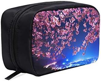 Bolsas de maquillaje Mimura Japón Sakura Cherry Blossom Highway City Ni Bolsa de cosméticos Bolsa de mano Bolsa de aseo colgante para niños Bolsa de aseo barata Bolsas de cosméticos Estuche multifunc: