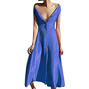 Women Button Down Aline Maxi Dress Summer Solid Deep V Neck Sleeveless Flowy Pleated Long Holiday Beach Dresses from formal swing dress