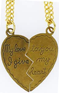 "Heart Pendant My Love to You, I Give My Heart ,2 18"" Necklaces 14k Old Gold Tone Plated"