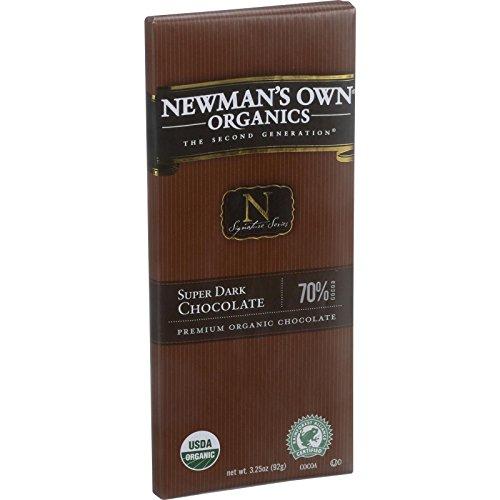 Newmans Own Organics Chocolate Bar - Organic - Super Dark Chocoate - 70 Percent Cocoa - 3.25 oz Bars - Case of 12