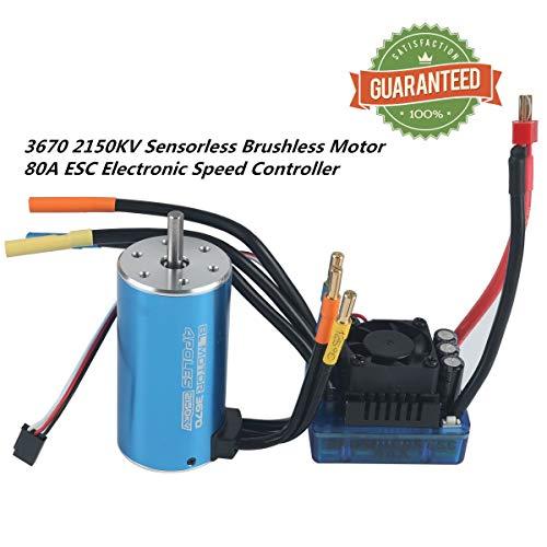 RCRunning 3670 2150KV 5mm 4P Sensorless Brushless Motor with 80A Brushless ESC Combo for 1/8 1/10 Monster Truck Truggy Cars (Blue) ()