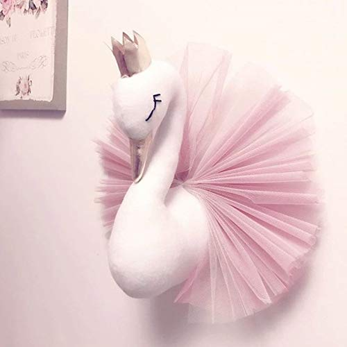 3D Crown Swan Princess Gauze Dress Wall Art Hanging for Nursery Kids Room - Swan Wall Decor Wall Mount Stuffed Animal Wall Hanging Ornament (Pink)