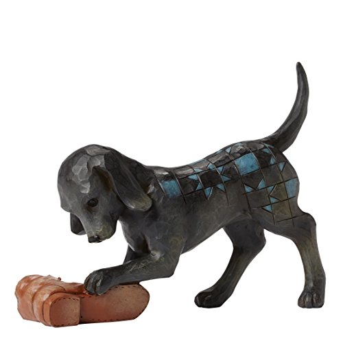 Department 56 Jim Shore Heartwood Creek Dog with Shoe Figurine, 4.5