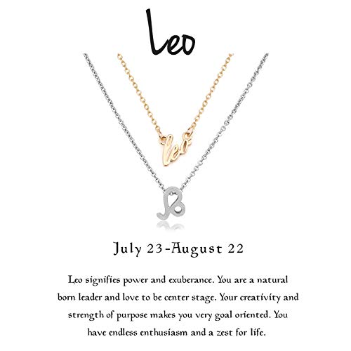 Leo Charm Gold Plated - Cyberny Star Sign Leo Constellation Necklace Gold & Silver