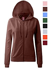 Women's Round Neck Long Sleeve Full Zip-Up Hoodie With Drawstrings (16 Various Colors, S-3X)