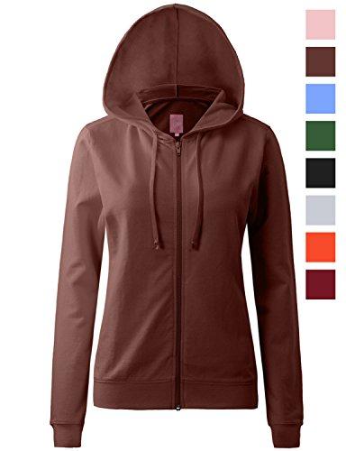 Regna X Womens Long Casual Loose Fit Pullover Zip up Hoodie Jacket Brown L (Dark Brown Hooded Jacket)