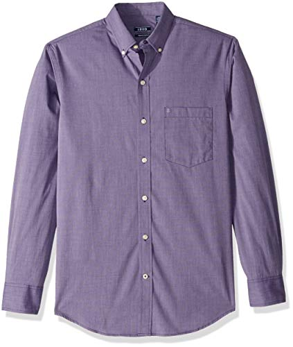 IZOD Mens Premium Performance Natural Stretch Solid Long Sleeve Shirt (Regular and Slim Fit)