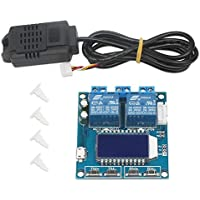 DROK Humidity and Temperature Controller, Digital Thermometer Hygrometer Control Module Dual Outputs -20℃~60℃ 00%~100% RH LCD Automatic Constant Temperature Humidity Regulator Board