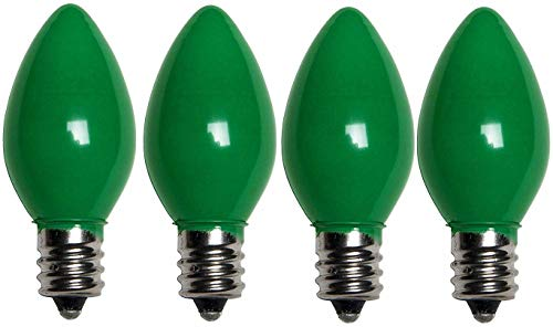 7 Watt Light Bulbs Colored C7, Steady Burning Ceramic Candelabra Base -Great for Night Lights, and Christmas Strings (Green, 4 Pack)
