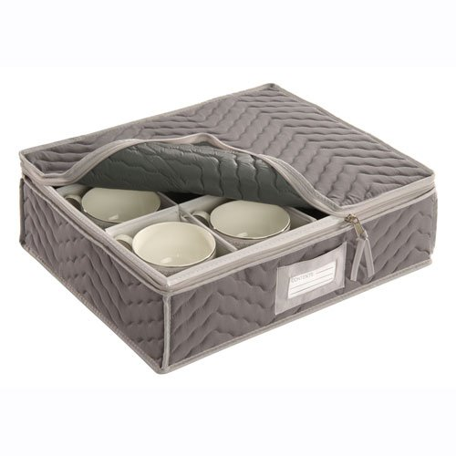 "China Cup Storage Chest - Deluxe Quilted Microfiber (Light Gray) (13""H x 15.5""W x 5""D)"