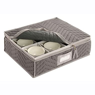 China Cup Storage Chest - Deluxe Quilted Microfiber (Light Gray) (13 H x 15.5 W x 5 D)