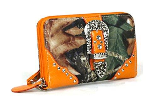 DH JP Camo Bling Rhinestone Belt Buckle Womens Western Zipper Wristlet Wallet (Orange)