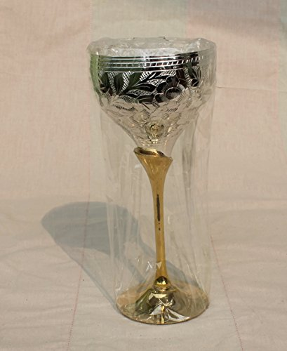 MAITHIL ART Hand-made Pure Copper Wine Goblet, Wine Glass Water Goblet/Silver Plated Brass Wine Goblets /Copper Moscow Mule Mint Julep Cup/ (Brass Base Round Silver Coated)