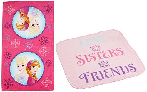 Disney Frozen Snowflake Sisters Cotton 2-Piece Beach/Bath/Pool Towel and Washcloth Set (Disney Frozen Bath Accessories)