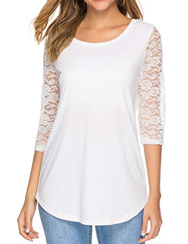 Koitmy Women's 3/4 Lace Sleeve Round Neck T-Shirt Casual Blouses Tunics Tops