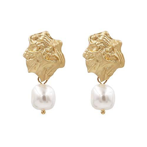 ESCYQ Women Earring Studs Earring Drop Earrings Ear Line,Korean Version of Simple Freshwater Pearl Earrings Creative Metal Earrings Fashion Temperament Earrings, Suitable for Everyday Wear