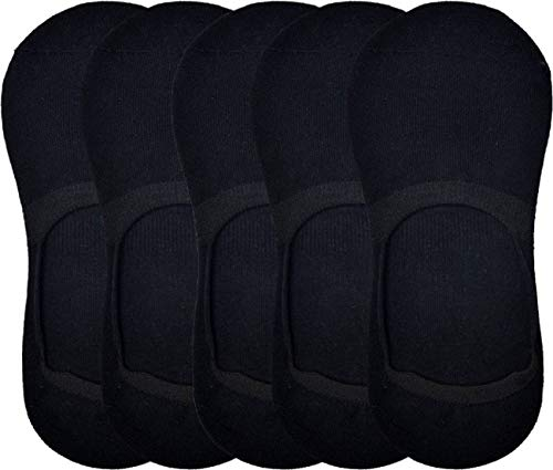 PinKit Men #39;s Peds/Footie/No Show Cotton Socks Black Solid Loafer Socks with Silicon Anti Skit Support    Pack of 5