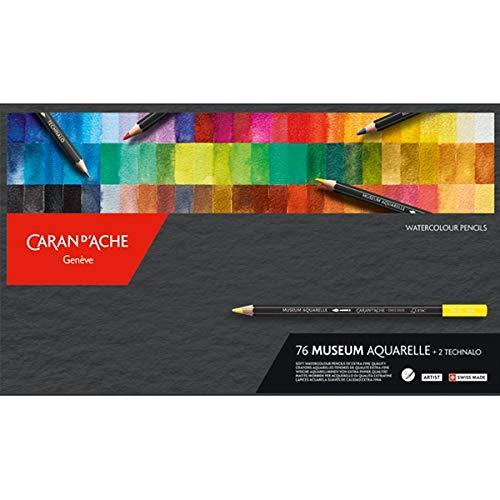 Caran D'Ache Color Pencil Set - Museum Aquarelle Watersoluable Colored Pencil Set of 76 + 2 Technalo Pencils by Caran d'Ache