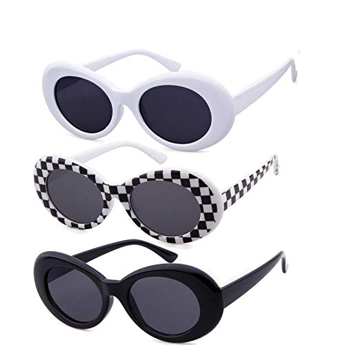 Authentic Clout Goggles Bold Oval Retro Mod Kurt Cobain Sunglasses Clout Round Lens (3 Pack ()