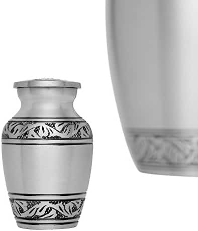 Funeral Keepsake Urn by Liliane - Cremation Urn for Human Ashes - Hand Made in Brass and Hand Engraved - Fits small amount of Cremated Remains - Lauriers Keepsake in Pewter Finish