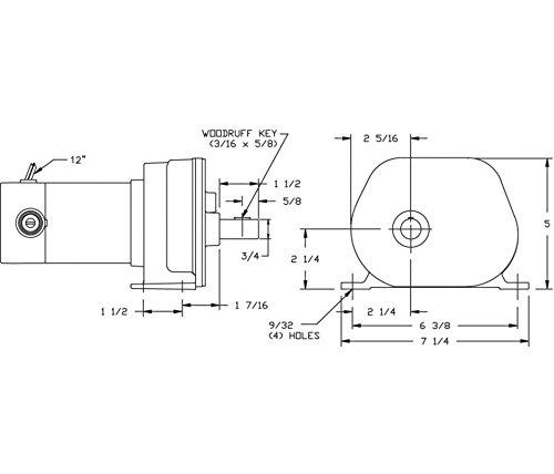 Dayton 1LPK7 Gearmotor,12 RPM,250 Torque,12 VDC,TENV 1LPK7