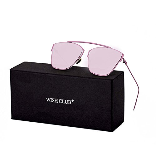 WISH CLUB Women Classic Cat Eye Sunglasses Fashion Round Reflective Mirrored Stylish Light UV 400 Glasses - Cheap Personalized Sunglasses
