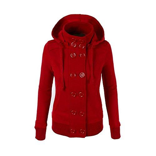 (Kemilove Women Warm Winter Double-Breasted Hooded Pocket Long Slim Jacket Coat)