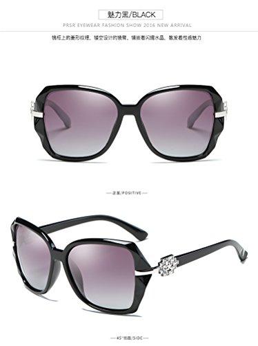 Mujer Sol zhenghao Negro Polarizantes Frame Azul para Xue Gafas Gafas brillante De Big wqZtXfX6