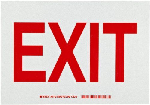"Brady 95142 10"" Width x 7"" Height Engineering Grade Bradylite Reflective Sheeting, Red on Gray Reflective Sign, Legend ""Exit"""