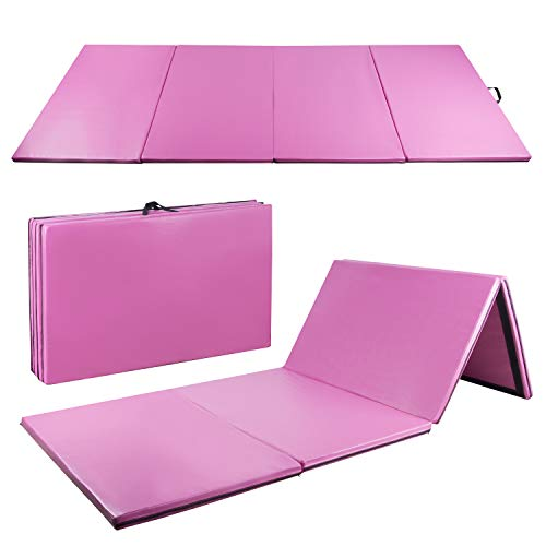CharaVector 4′ x 10′ x 2″ Folding Gymnastics Mat for Gym Exercise Tumbling Yoga Pilates Aerobics MMA Martial Arts, with Hook & Loop Fasteners Pink