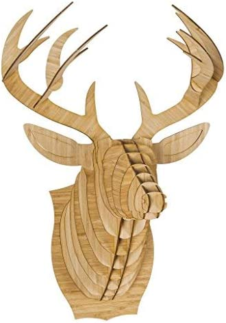 Cardboard Safari Bamboo Pywood Animal Taxidermy Deer Trophy Head, Bucky X-Large