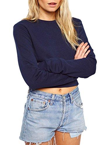 Gameyly Women Round Neck Crop Casual Sweatshirt Tops S Navy Blue