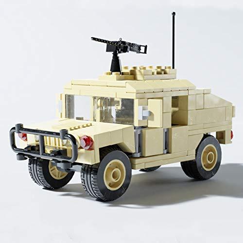 Military Blocks Humvee Army Truck Hummer with Mounted Gun Block Toy Model Building Kit (Turret Version (4 Seats)) (Best Gun In Modern Warfare 3)
