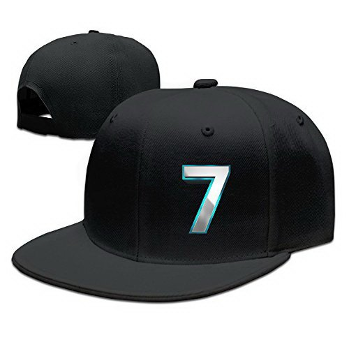 Unoopler Lucky 7 Rapper Freestyle Hip Hop Snapback Popular Solid Flat Bill Baseball Caps Black