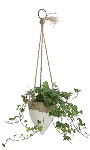 Flower Large Bell Cone - Creative Co-op Medium White Stoneware Hanging Planter with Jute Rope