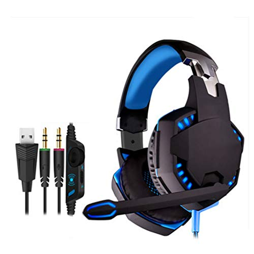 Liutao-Headphones Computer Gaming Headset Game 7.1 Channel Wired Headset Computer Notebook Subwoofer with Microphone (Color : Blue)