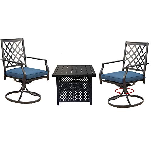 Top Space 3 Piece Bistro Set Outdoor Swivel Chair Sets Metal Rocker Chairs Patio Dining Furniture for Garden Backyard with Umbrella Hole Table (Set of 3, Blue)